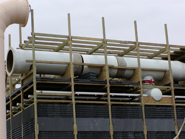 Single inlet multi-cell header installation with valves.