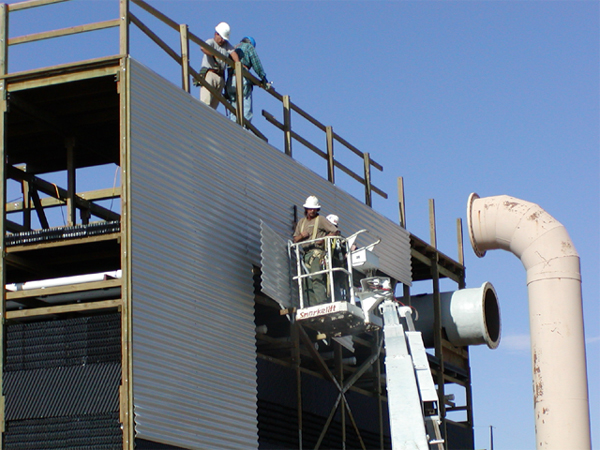 Typical installation technique. Partial replacement of FRP casing and louvers.
