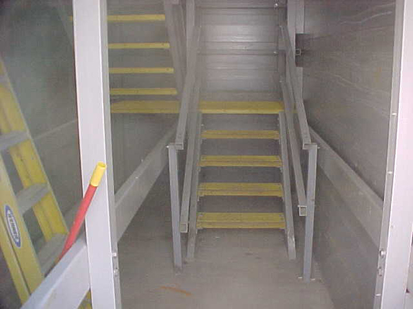 Typical enclosed stairways of various heights.
