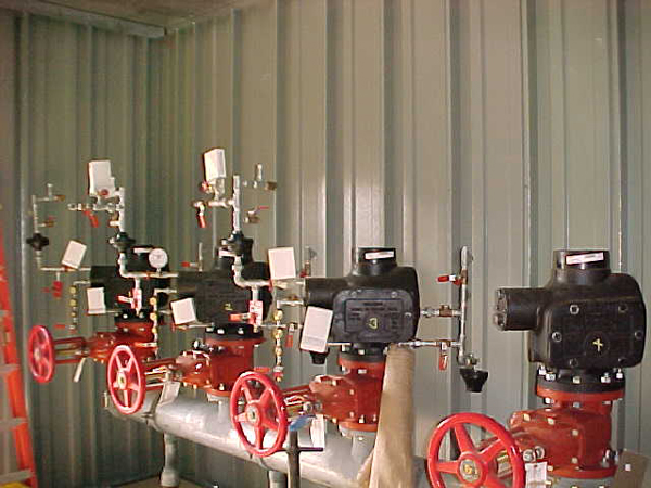 Typical fire protection installation valve house.