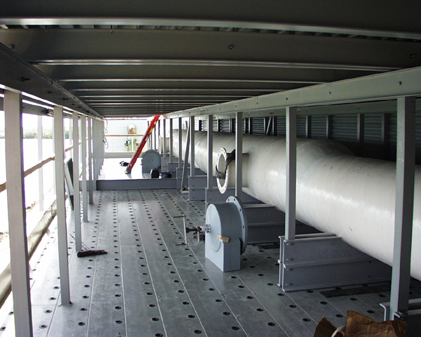 Longitudnal FRP header on new FRP decking and FRP crossflow.