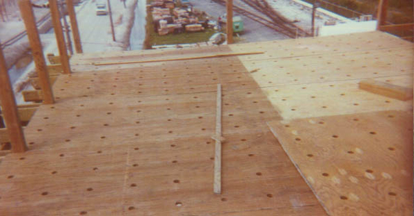 New plywood hot water deck on wood crossflow.