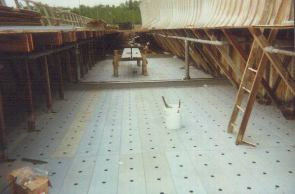 New FRP hot water deck and FRP supports on wood crossflow
