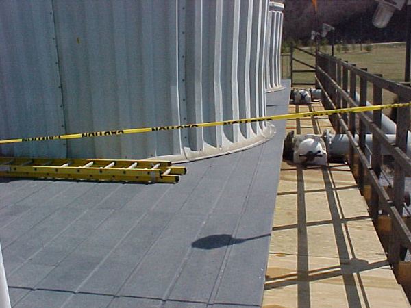 Typical non-skid pultruded FRP fan deck installation.