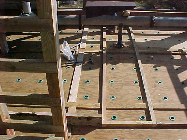Hot water deck access walkway - wood crossflow.