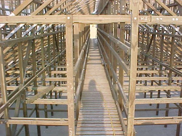 Plenum wood walkway on wood tower.